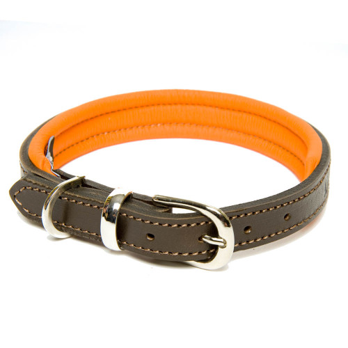 Dogs & Horses Classic Colours Leather Dog Collar Brown & Orange Extra Small: 23 - 30cm