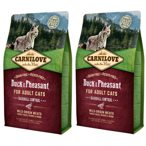 Carnilove Hairball Control Duck & Pheasant Adult Cat Food 6kg x 2