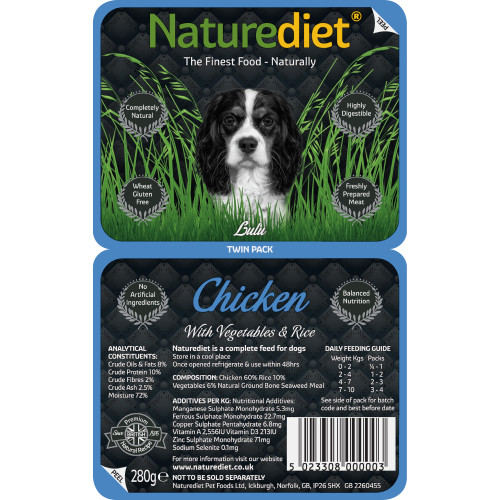 Naturediet Chicken Vegetables & Rice Dog Food 280g Twin Pack x 18