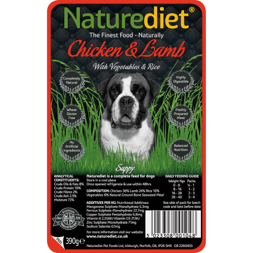 Naturediet Chicken Lamb & Vegetable Dog Food 390g x 18