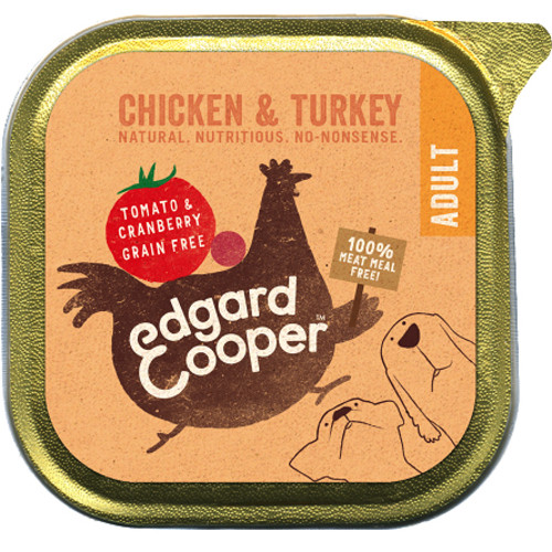 EdgardCooper Chicken & Turkey with Tomato & Cranberry Wet Adult Dog Food 150g x 11