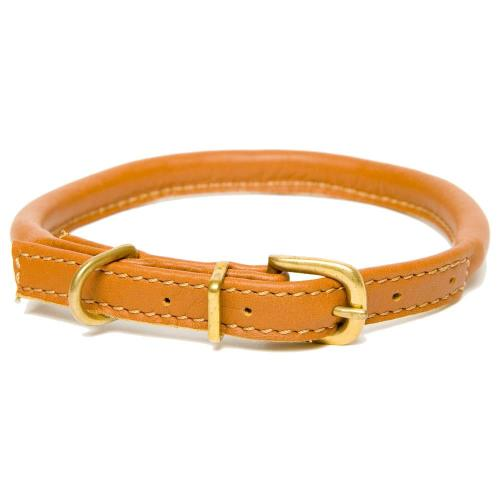 Dogs & Horses Rolled Leather Dog Collar Tan Extra Small: 23 - 30cm