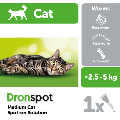 Dronspot Cat Worming Treatment Medium Cats 2.5-5kg - 1 Pipette NFA-CS