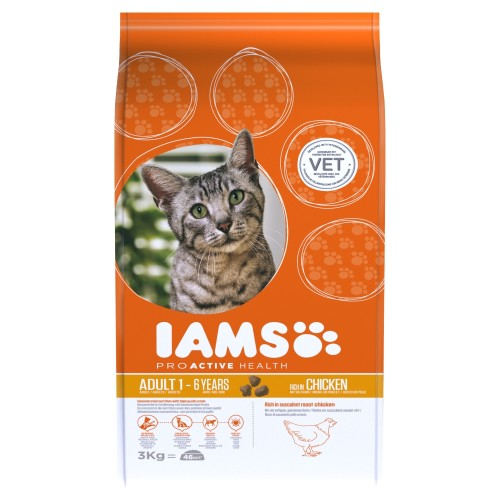 IAMS for Vitality Chicken Adult Dry Cat Food 3kg
