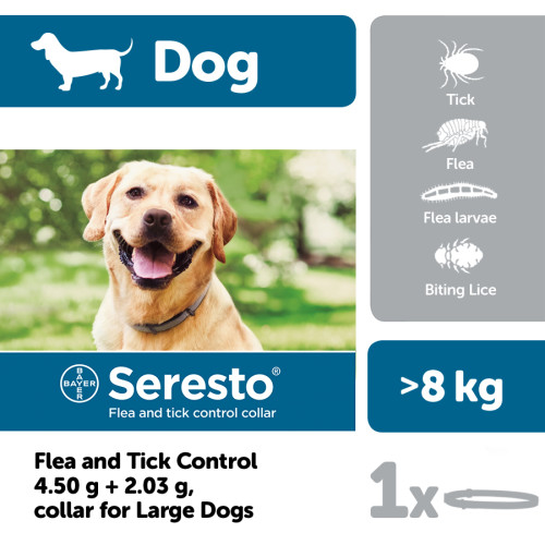 Seresto Flea & Tick Collar for Dogs Large Dogs >8kg NFA-D
