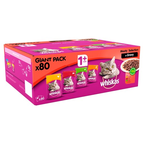 Whiskas 1+ Meat Selection in Gravy Wet Cat Food Pouches 100g x 80 SAVER PACK