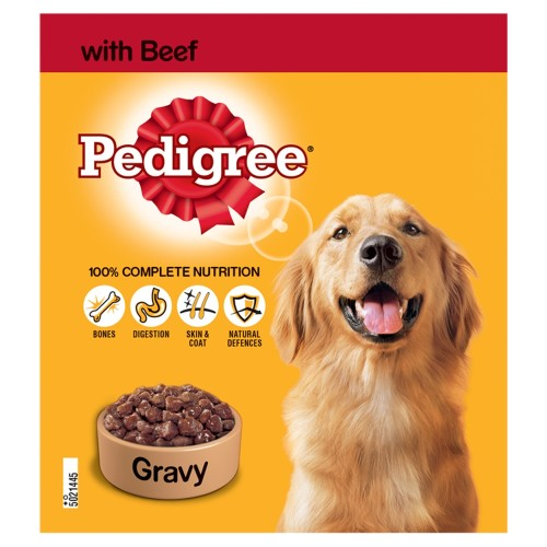 Pedigree Beef in Gravy Adult Dog Food Tins 400g x 12