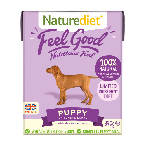 Naturediet Feel Good Chicken & Lamb Puppy Wet Dog Food Cartons 390g x 18 Feel Good