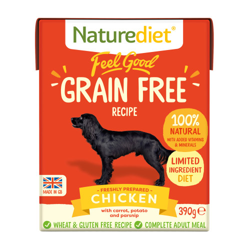 Naturediet Feel Good Grain Free Chicken Wet Adult Dog Food Cartons 390g x 18 Feel Good