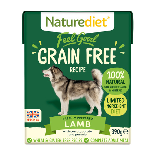 Naturediet Feel Good Grain Free Lamb Wet Adult Dog Food Cartons 390g x 18 Feel Good