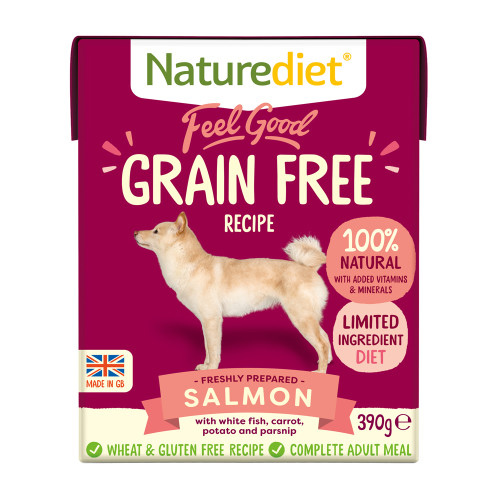 Naturediet Feel Good Grain Free Salmon Wet Adult Dog Food Cartons 390g x 18 Feel Good