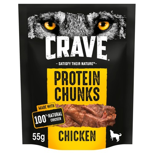 Crave Protein Chunks Natural Chicken Dog Treats 55g