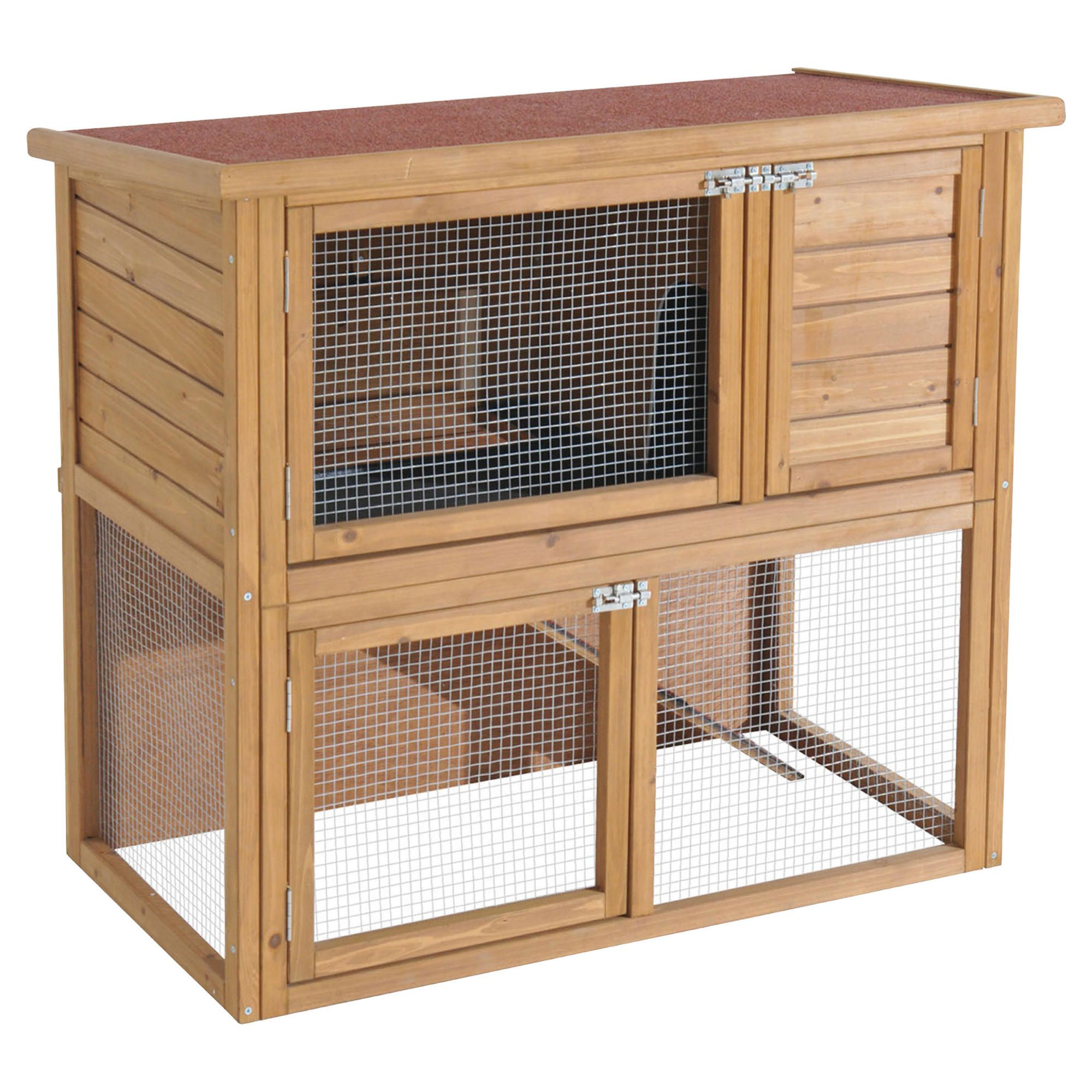 Rabbitshack ground level hutch with under-run with cover