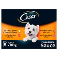 CESAR Deliciously Fresh Dog Pouches Favourites in Sauce 8 x 100g