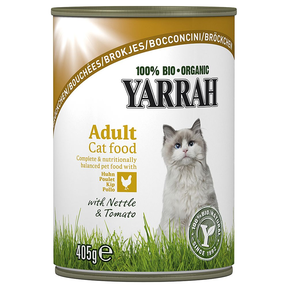 Yarrah Organic Chunks 6 x 405g - Chicken & Beef with Nettle & Tomato