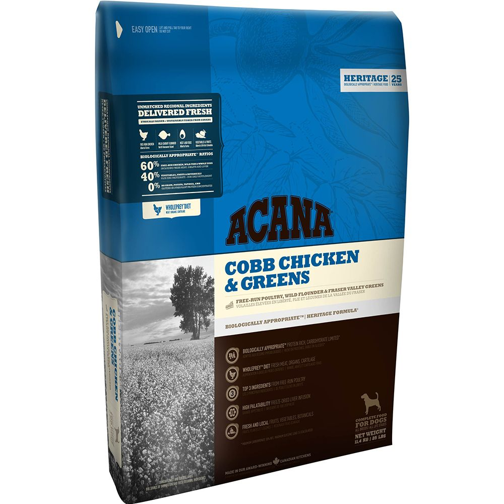 Acana Cobb Chicken & Greens Dry Dog Food - Economy Pack: 2 x 11.4kg