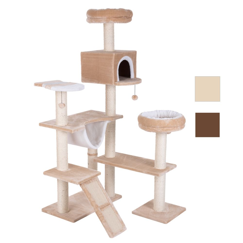Gingerbread House Cat Tree with Ladder - Beige