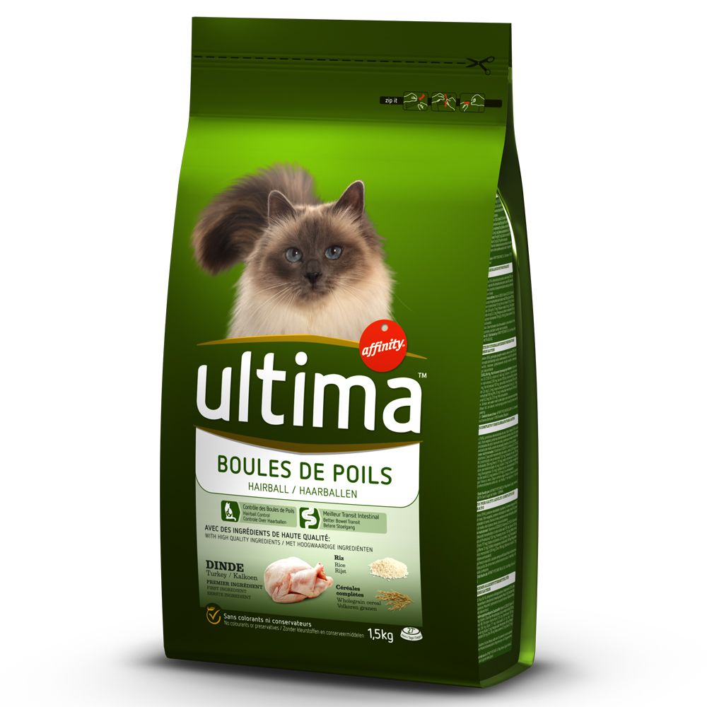 7.5kg Bags Affinity Ultima Dry Cat Food + 8 x 85g Wet Food Free!* - Hairball Control - Turkey & Rice + Adult Hairball