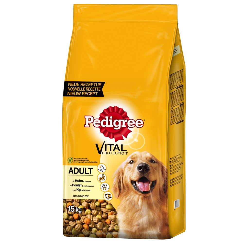12kg Pedigree Dry Dog Food + 3kg Free!* - Adult Complete - Vital Protection Beef