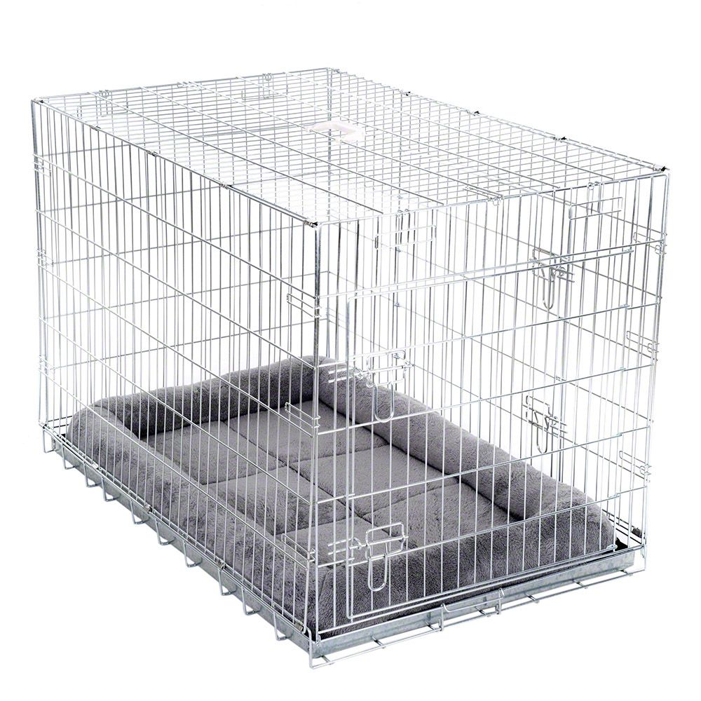 Double Door Transport Cage with Cushion - Size XL: 109 x 69 x 75 cm (L x W x H)
