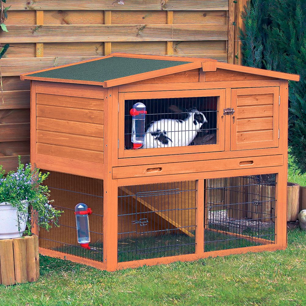 Trixie Natura Small Animal Hutch with Enclosure - 123 x 76 x 96 cm (L x W x H)