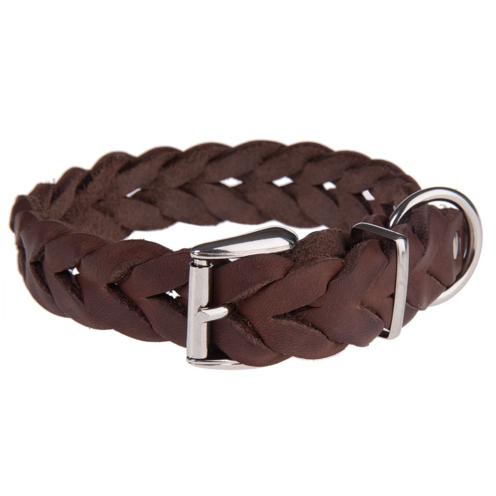 Heim Braided Leather Collar - Size 40: 26-37 cm Neck circumference
