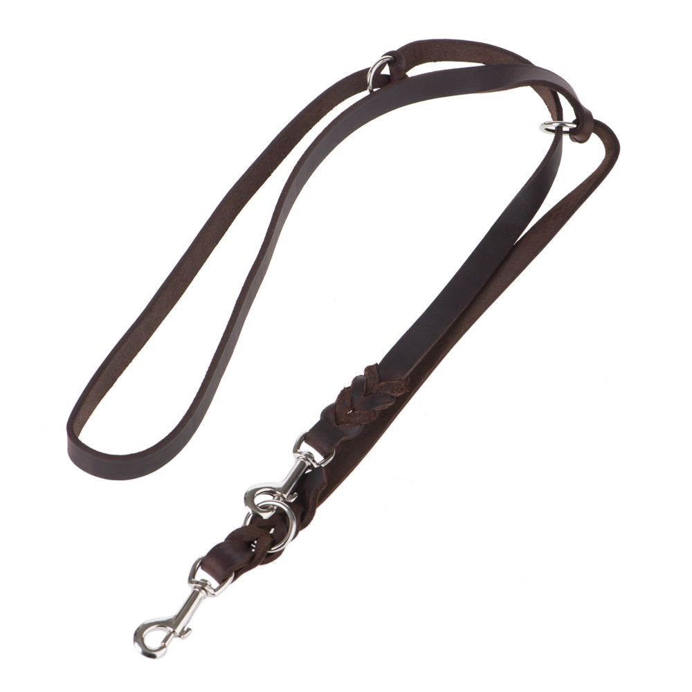 Heim Plaited Leather Double Dog Lead - Brown - 220cm