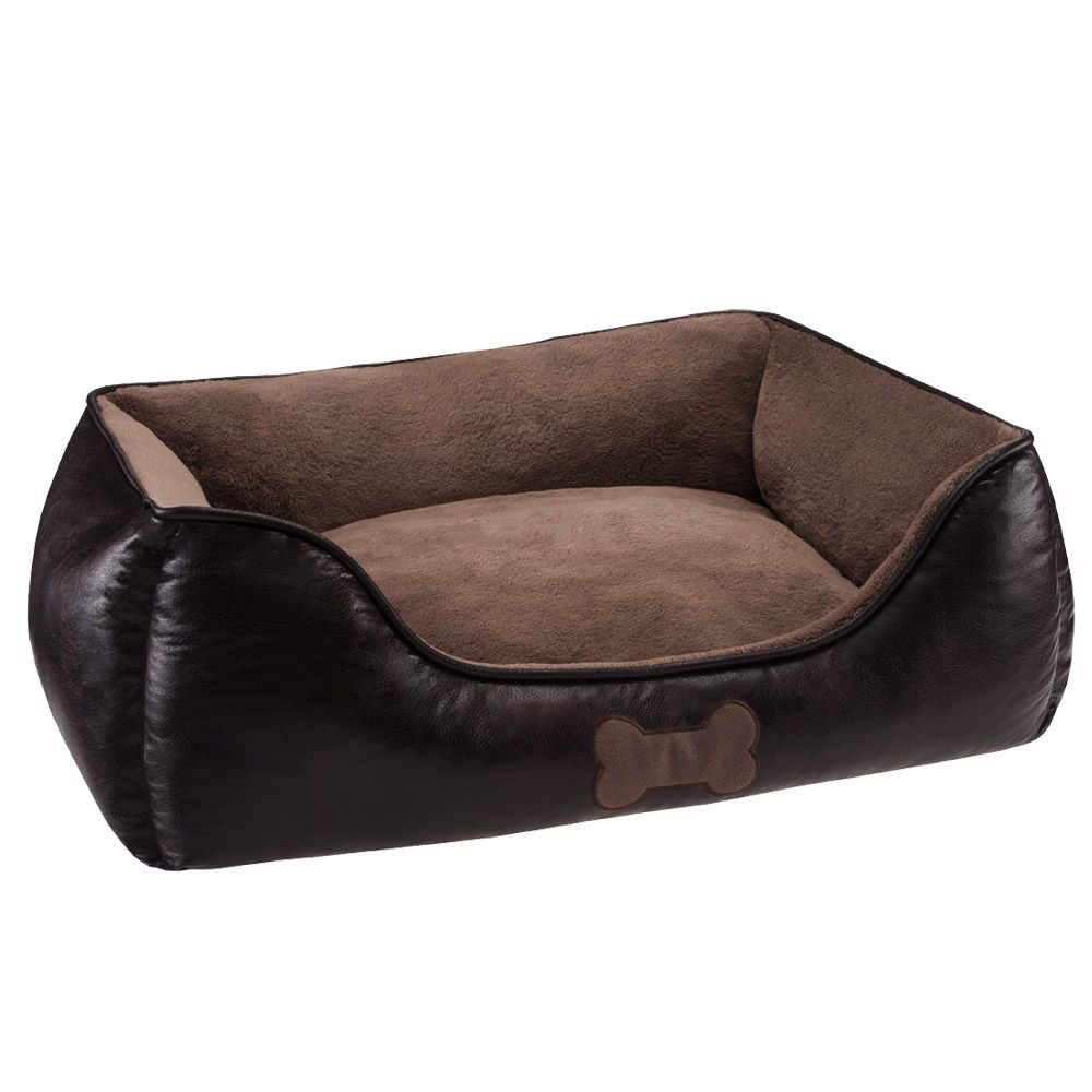 Artificial Leather Dog Bed - Chocolate Brown - 90 x 65 x 30 cm (L x W x H)
