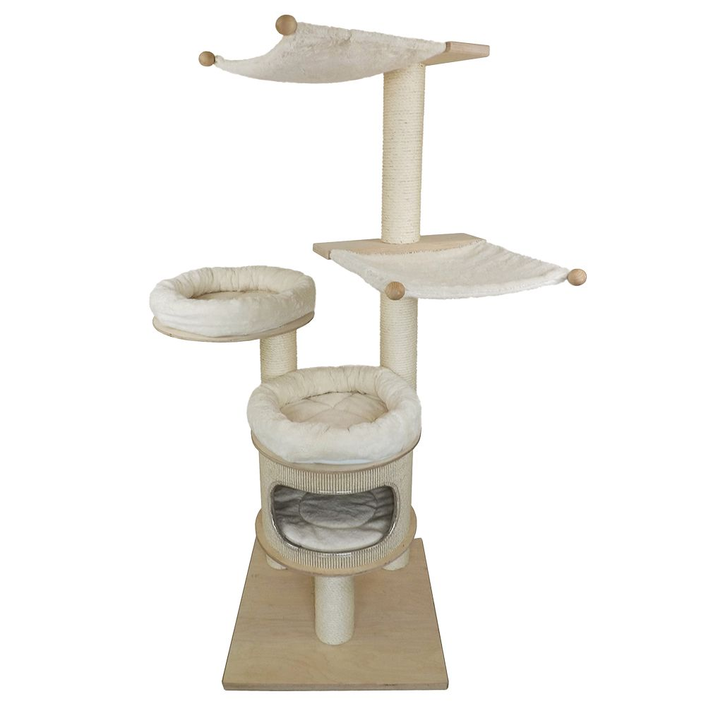 Iris Pet Fun Cat Tree - Natural White