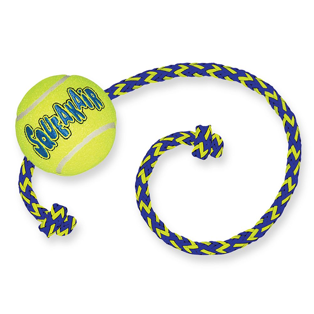 KONG AirDog Squeakair Ball with Rope - Medium/Large