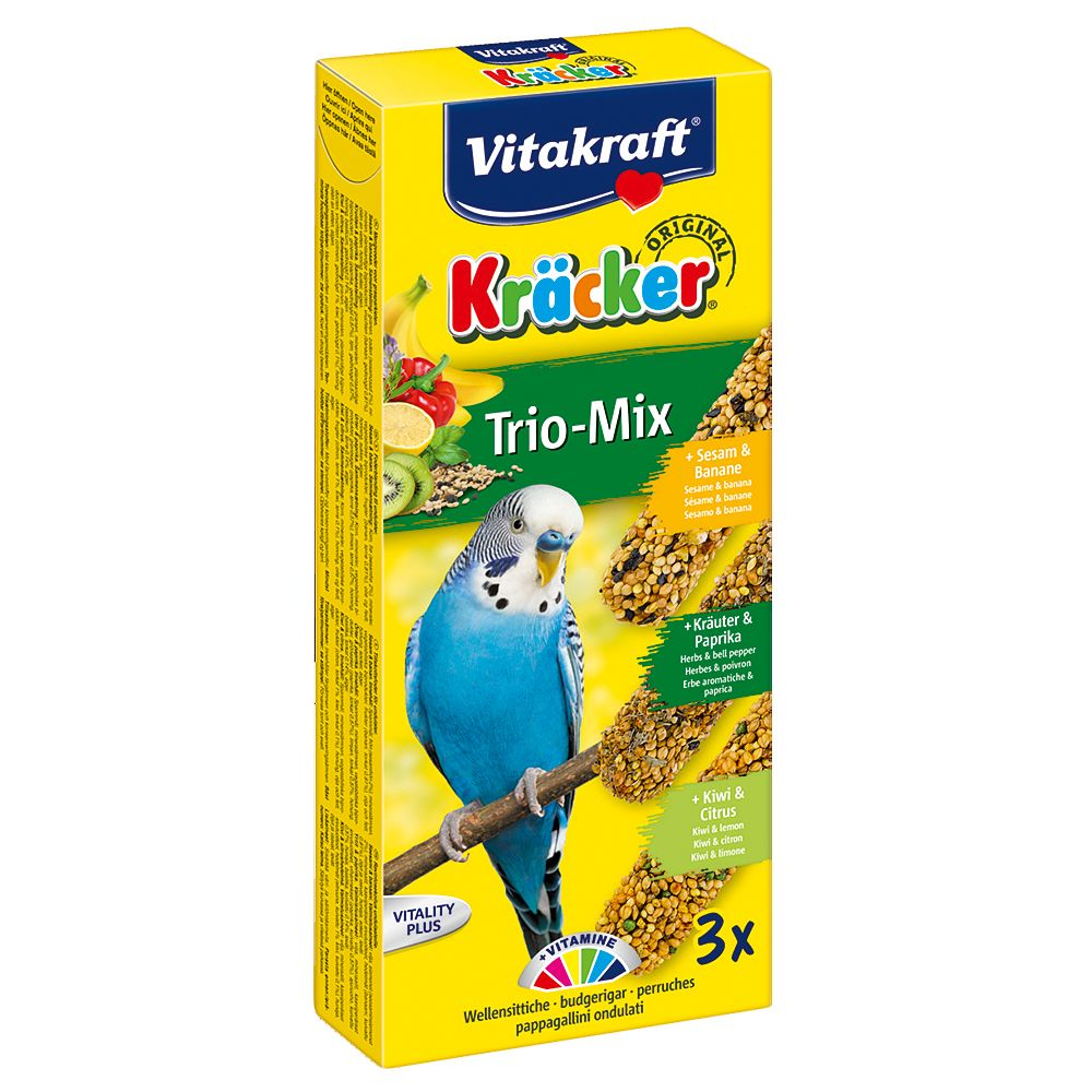 Vitakraft Budgies Crackers Trio-Mix - 3 Sticks: Egg/Apricot/Honey