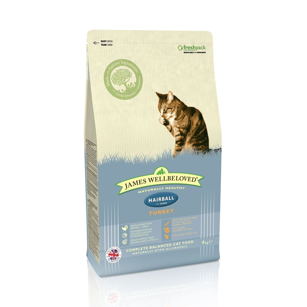 James Wellbeloved Adult Cat Hairball - Turkey - Economy Pack: 2 x 4kg