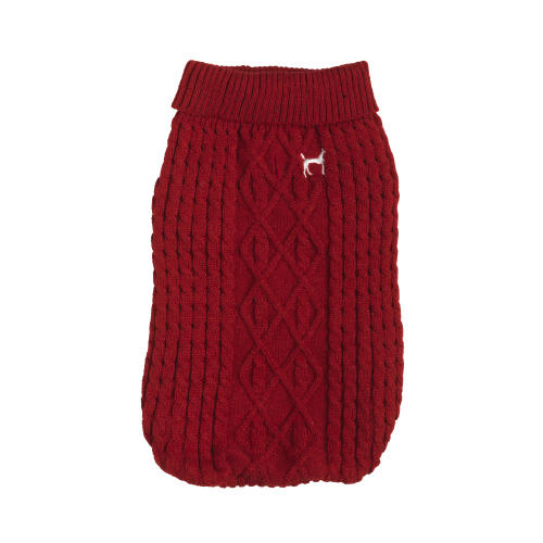 House Of Paws Cable Knit Red Dog Jumper